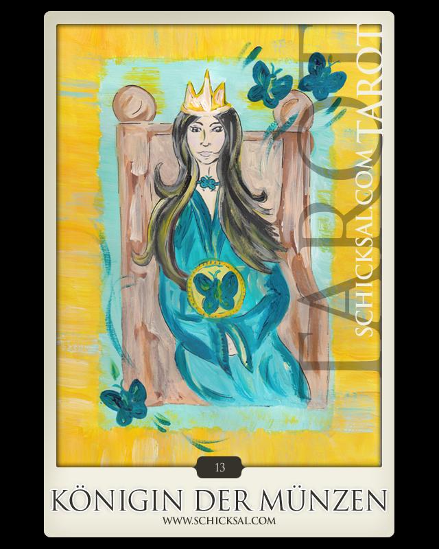 Die Königin Der Münzen Im Tarot